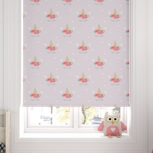 Unicorn Heads Purple Roller Blind