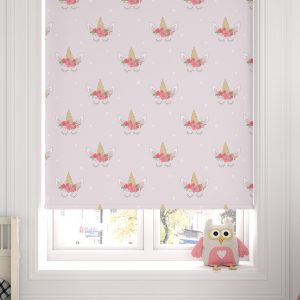 Unicorn Heads PInk Roller Blind