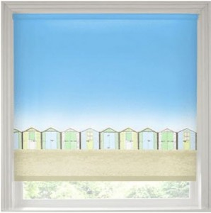 Beach hut print blind